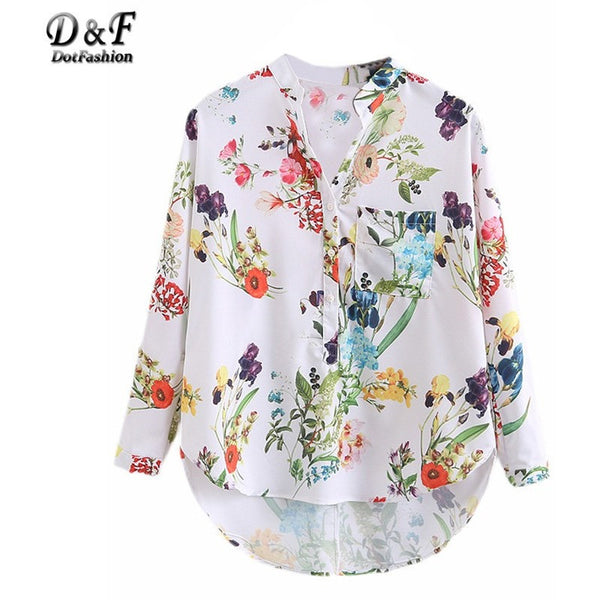 Multicolor V Neck Floral Print Tops Blouses Casual - Kind Unity