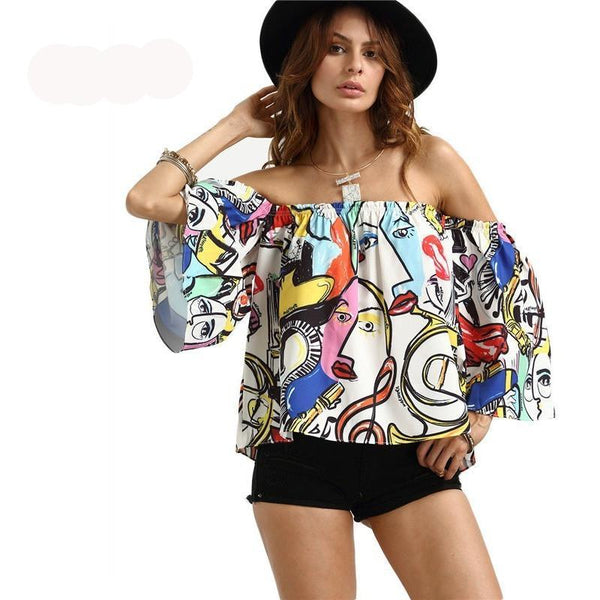 Off The Shoulder Graffiti Printed Tops Multi Color - Kind Unity