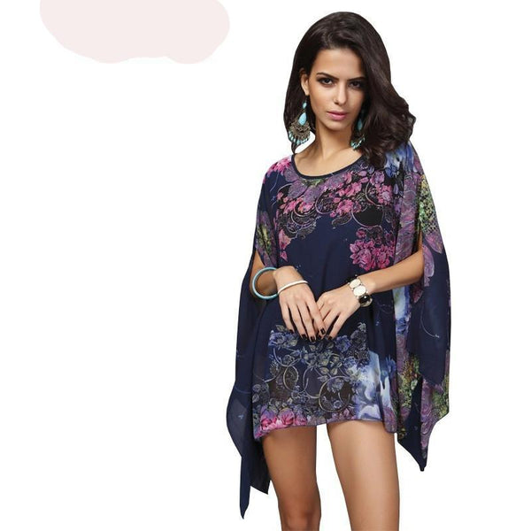Batwing Sleeve Chiffon Casual Floral Print Tops - Kind Unity