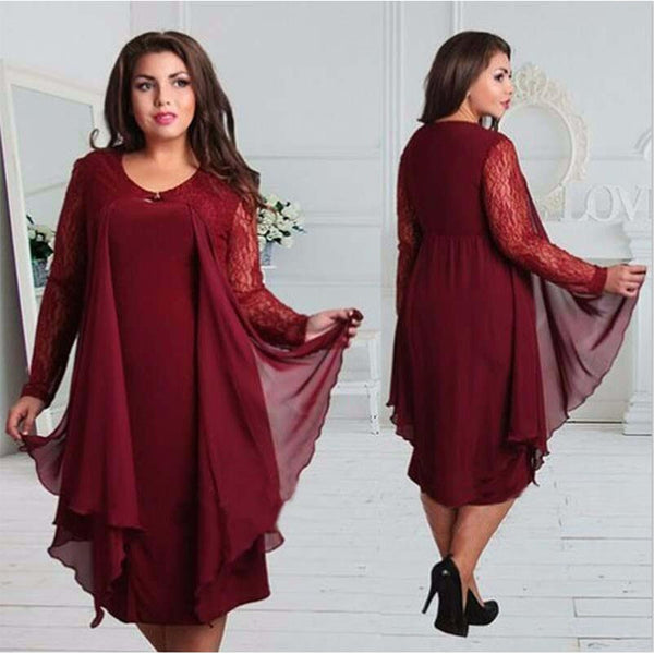 Long sleeve Lace Plus Size Dresses - Kind Unity