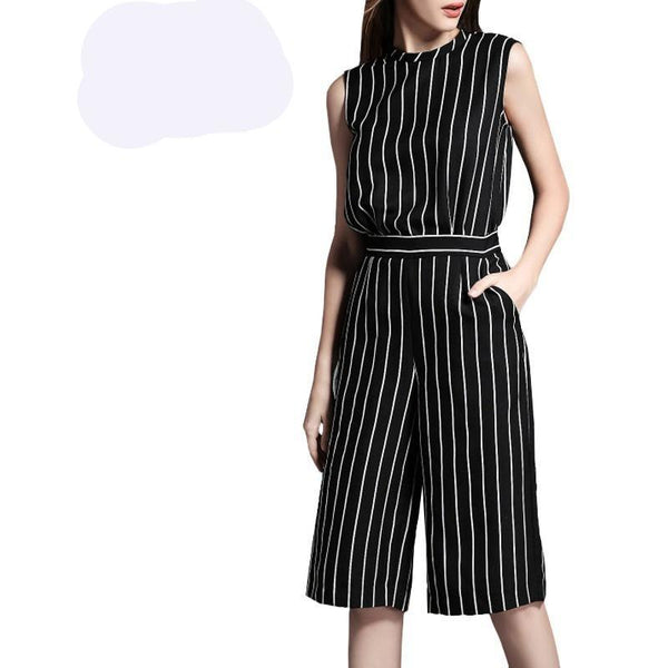 Black White Stripe sleeveless Jumpsuits - Kind Unity