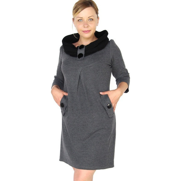 Winter Plus Size Dresses Draped Knitting Turtleneck Dresses - Kind Unity