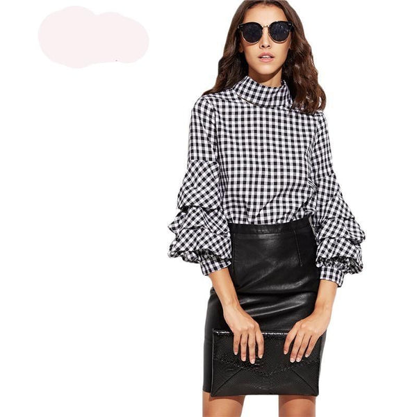 Ladies Office Plaid Blouses and Tops - Kind Unity