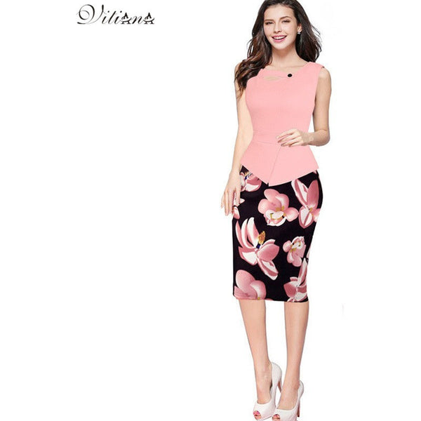 Elegant Print Floral Patchwork Party Bodycon Dress - Kind Unity