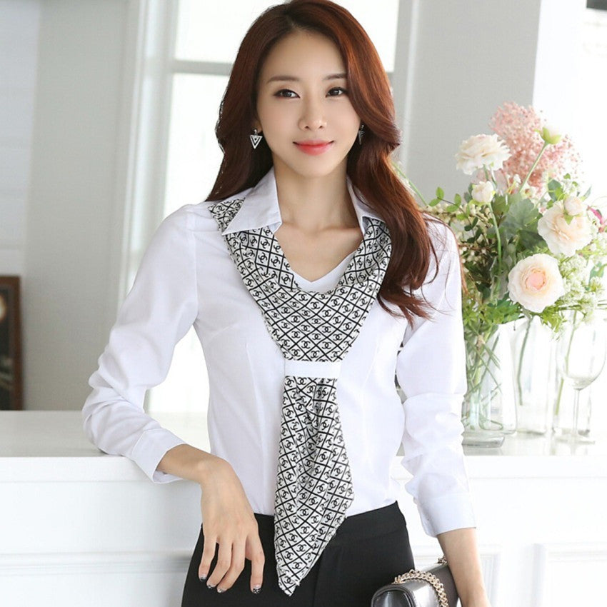 Formal Scarf Collar Long-sleeve Brand blouses Office Tops - Kind Unity