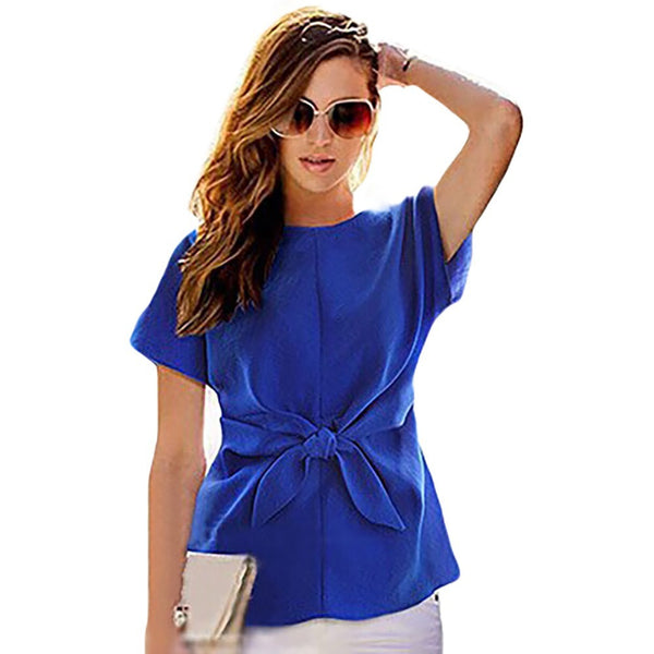 Chiffon Shirt Short Sleeves O-neck Blouses Tops With Bowknot - Kind Unity