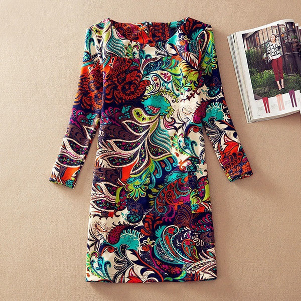 Plus Size Dresses Flower Print Women Dress  Long Sleeves - Kind Unity