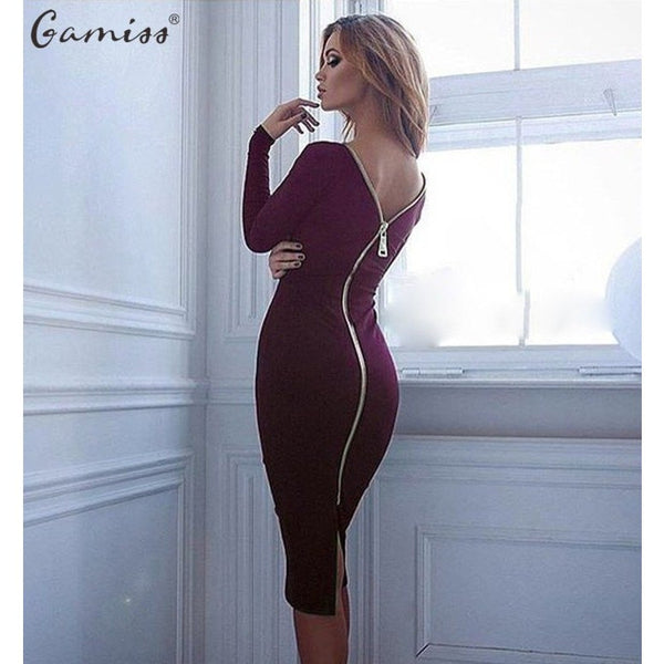 Long Sleeve Party Dresses Back Full Zipper - Kind Unity