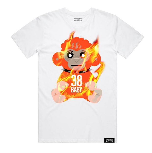 NBA-38 BABY FLAMES TSHIRT-WHITE - cosign1975