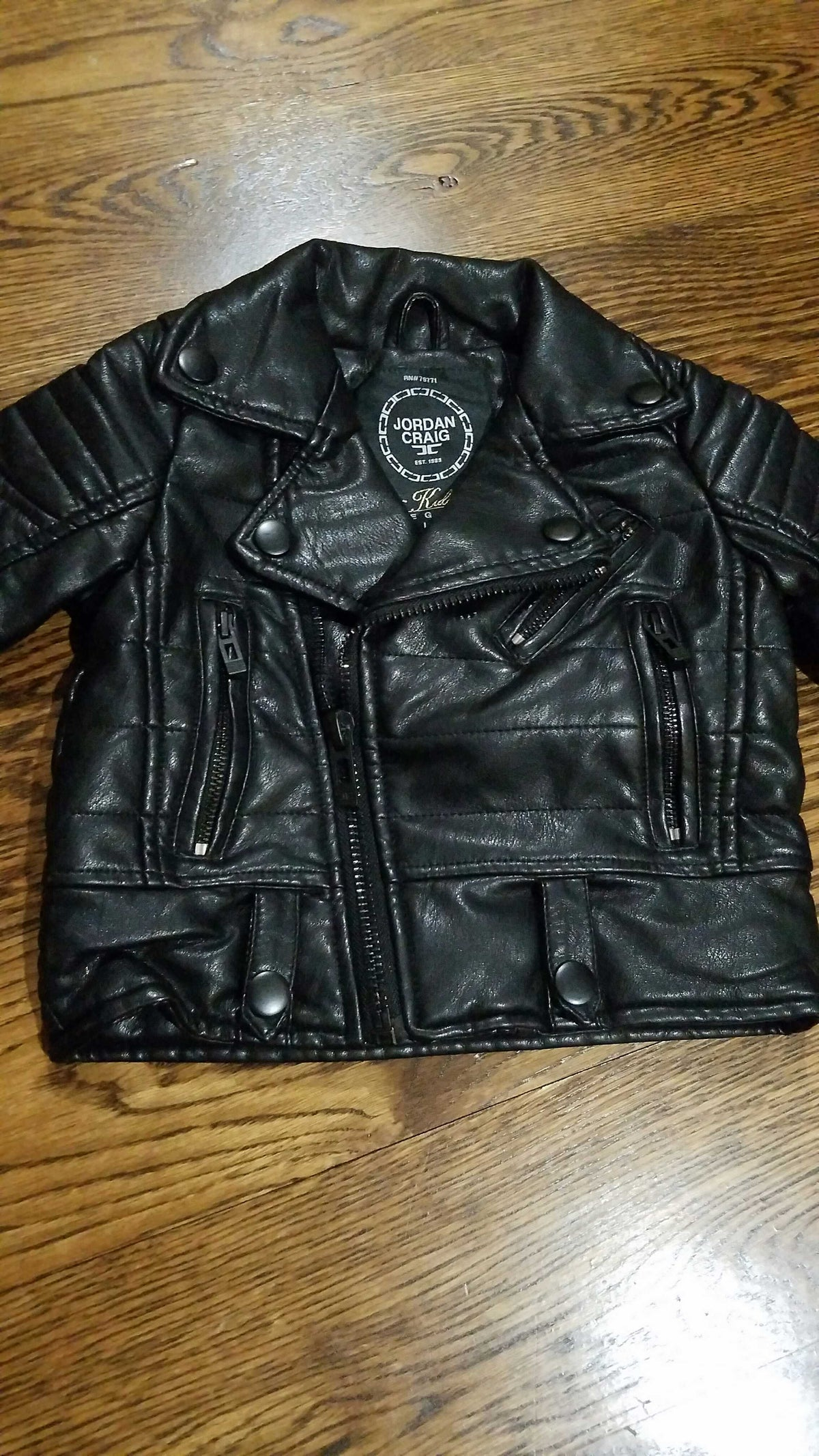 KIDS BIKER JACKET 91243AK BLACK - cosign1975
