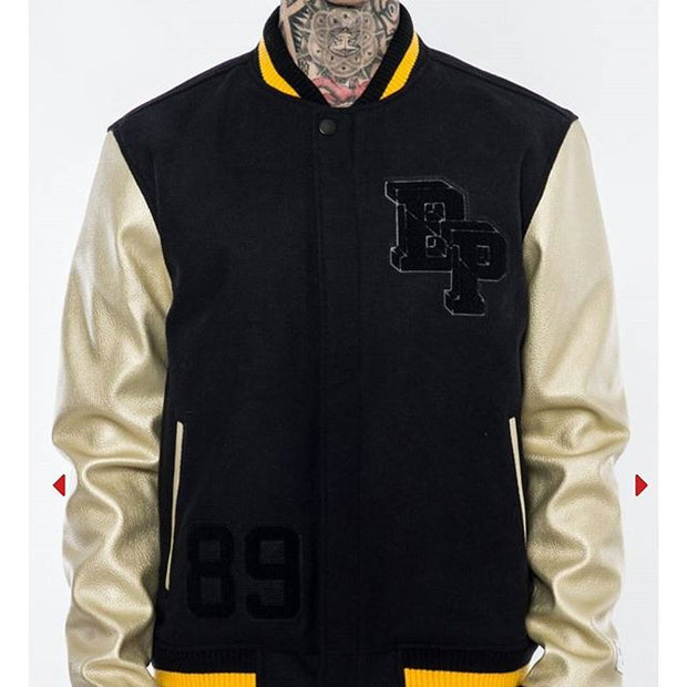 VARSITY BLACK PYRAMID LOGO JACKET BLACK AND GOLD - cosign1975
