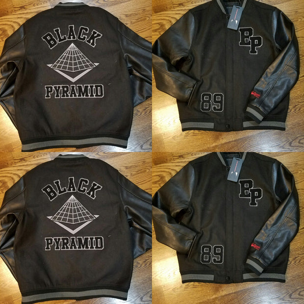 VARSITY BLACK PYRAMID LOGO JACKET Y6160242-BLK - cosign1975