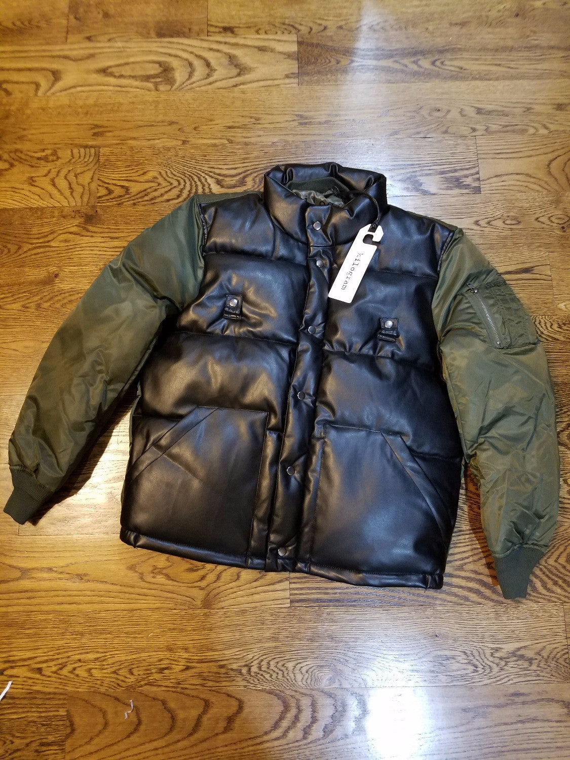 BOMBER PU LEATHER GREEN - cosign1975