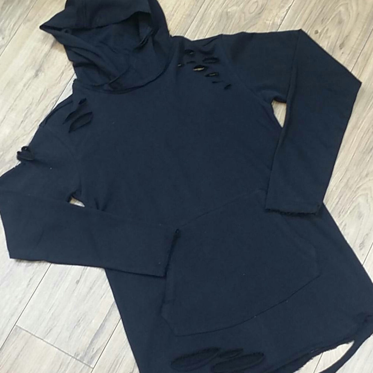 BLACK LS RIPPED HOODY 8264H - cosign1975