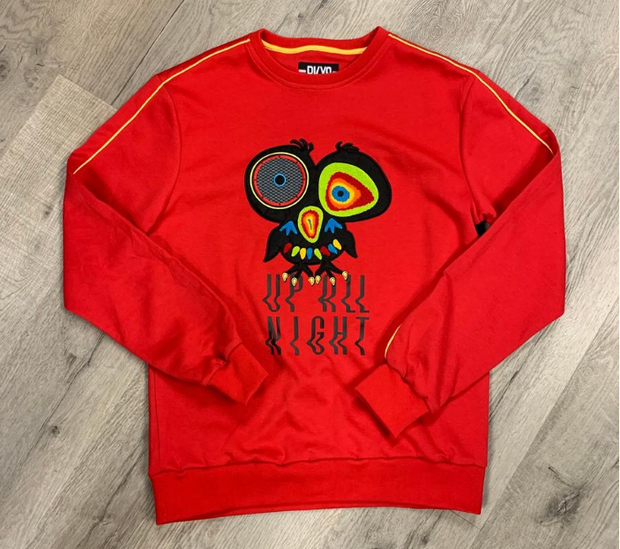 "BKYS - BLACK KEYS - ""UP ALL NIGHT"" CREW SWEATSHIRT W/TWILL PATCH (BKC956) - RED"