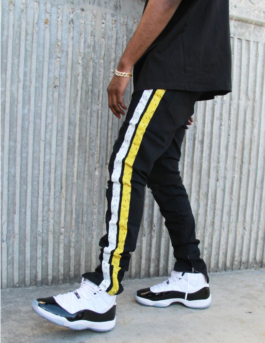 FEIN - HENDRIX JEANS BLACK (FD007) - BLACK/YELLOW - cosign1975