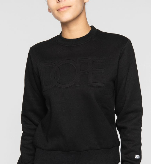 DOPE - Embossed Cropped Crew (D19FW-W001) - BLACK