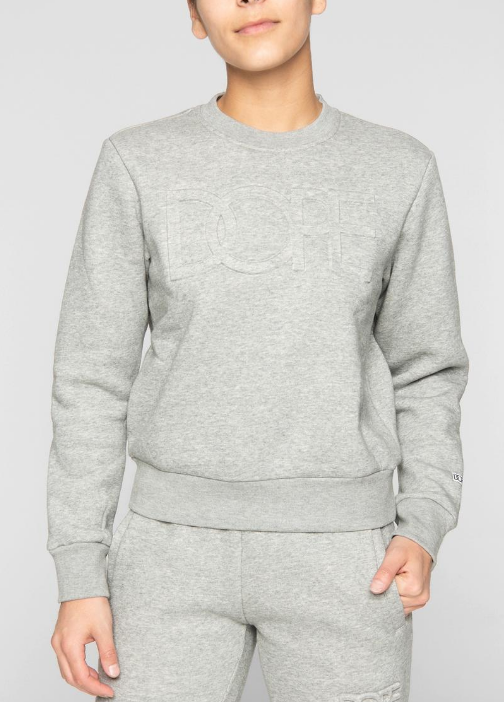 DOPE - Embossed Cropped Crew (D19FW-W001) - GREY CREW TOP