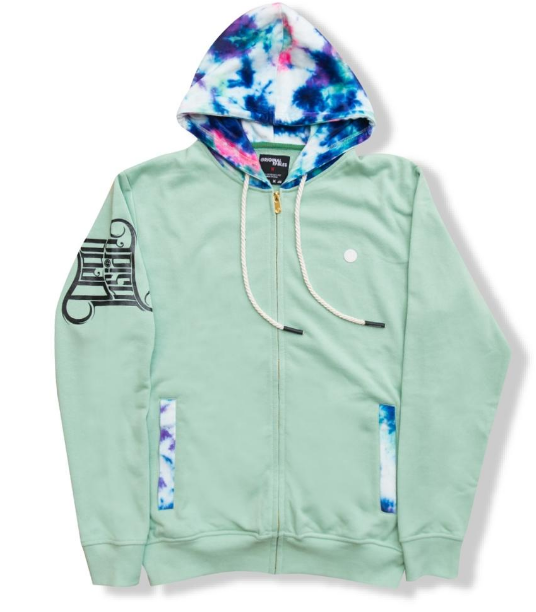 """DAZED"" ZIPDOWN HOODIE (H913) - DUSTY JADE"