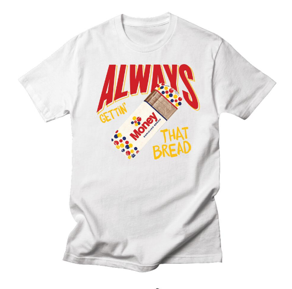 SEXMONEYWEED - GETTING THAT BREAD TEE - WHITE - gettin that bread WHITE (smw5)