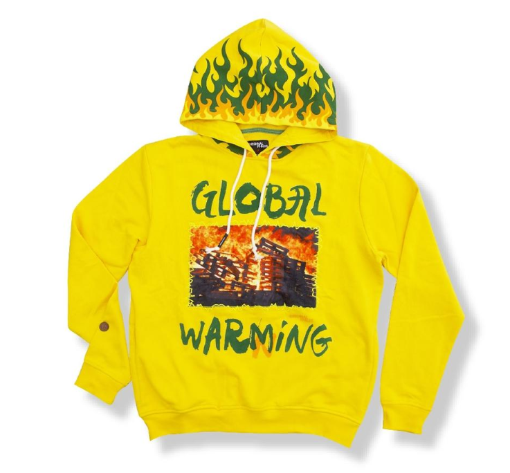 "ORIGINAL FABLES - ""WARNING"" PULLOVER HOODIE (H916) - CITRUS GOLD / YELLOW - cosign1975"