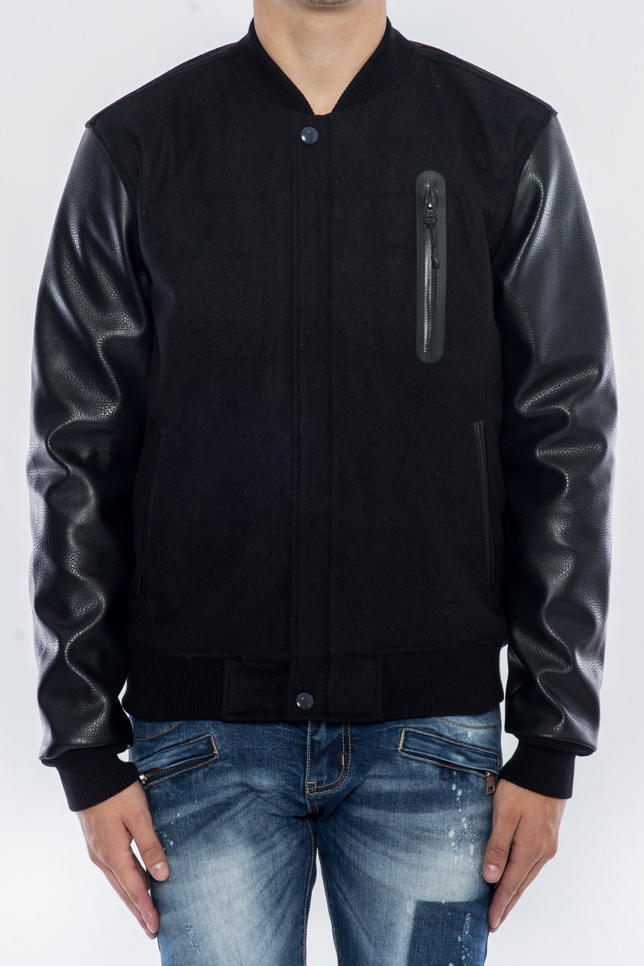 SEARCH AND DESTROY BOMBER BLACK VARSITY JACKET H6051112-BLK - cosign1975
