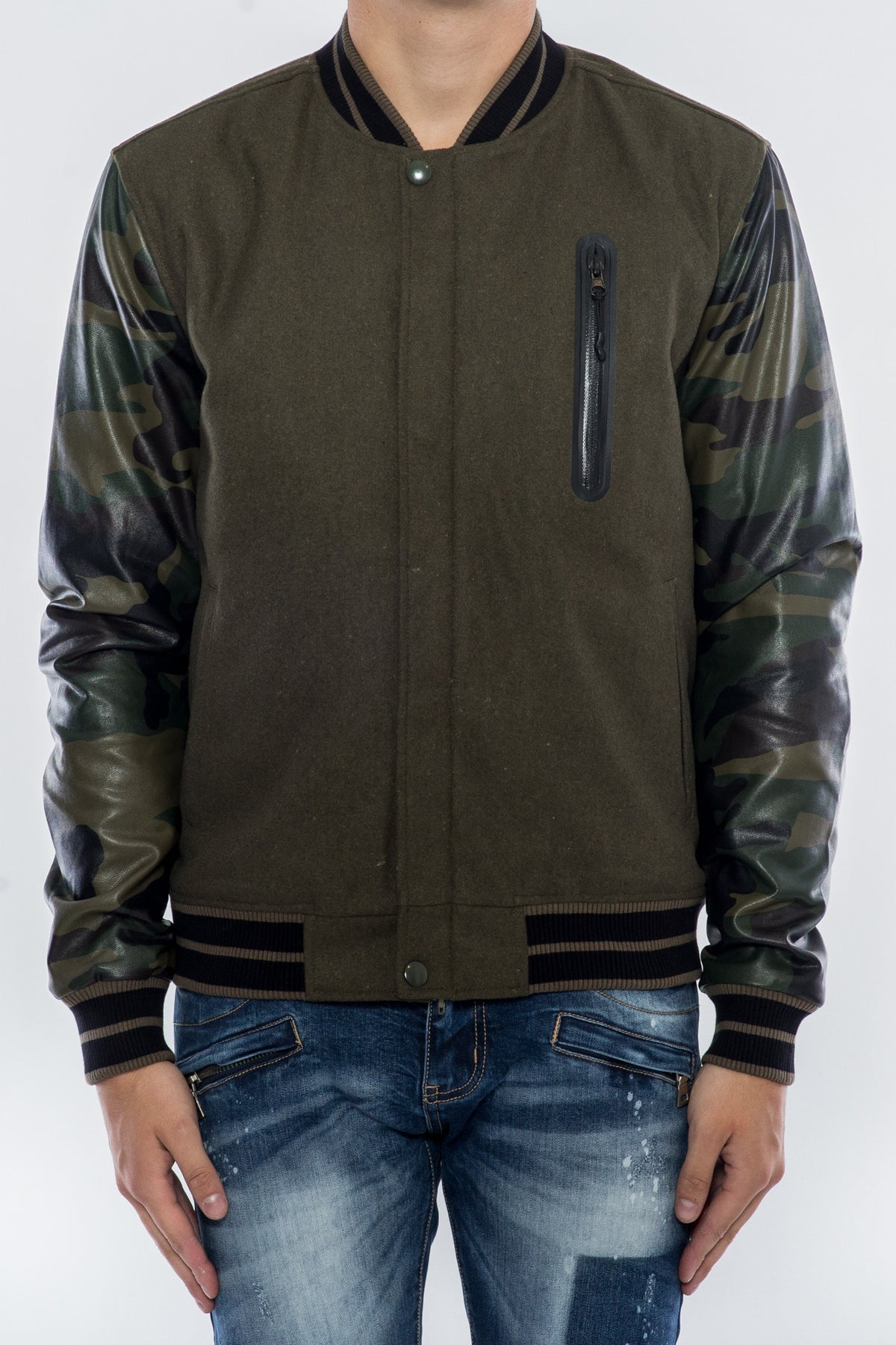 Olive Search And Destroy Wool CAMO VARSITY JACKET H6051111-OLV - cosign1975