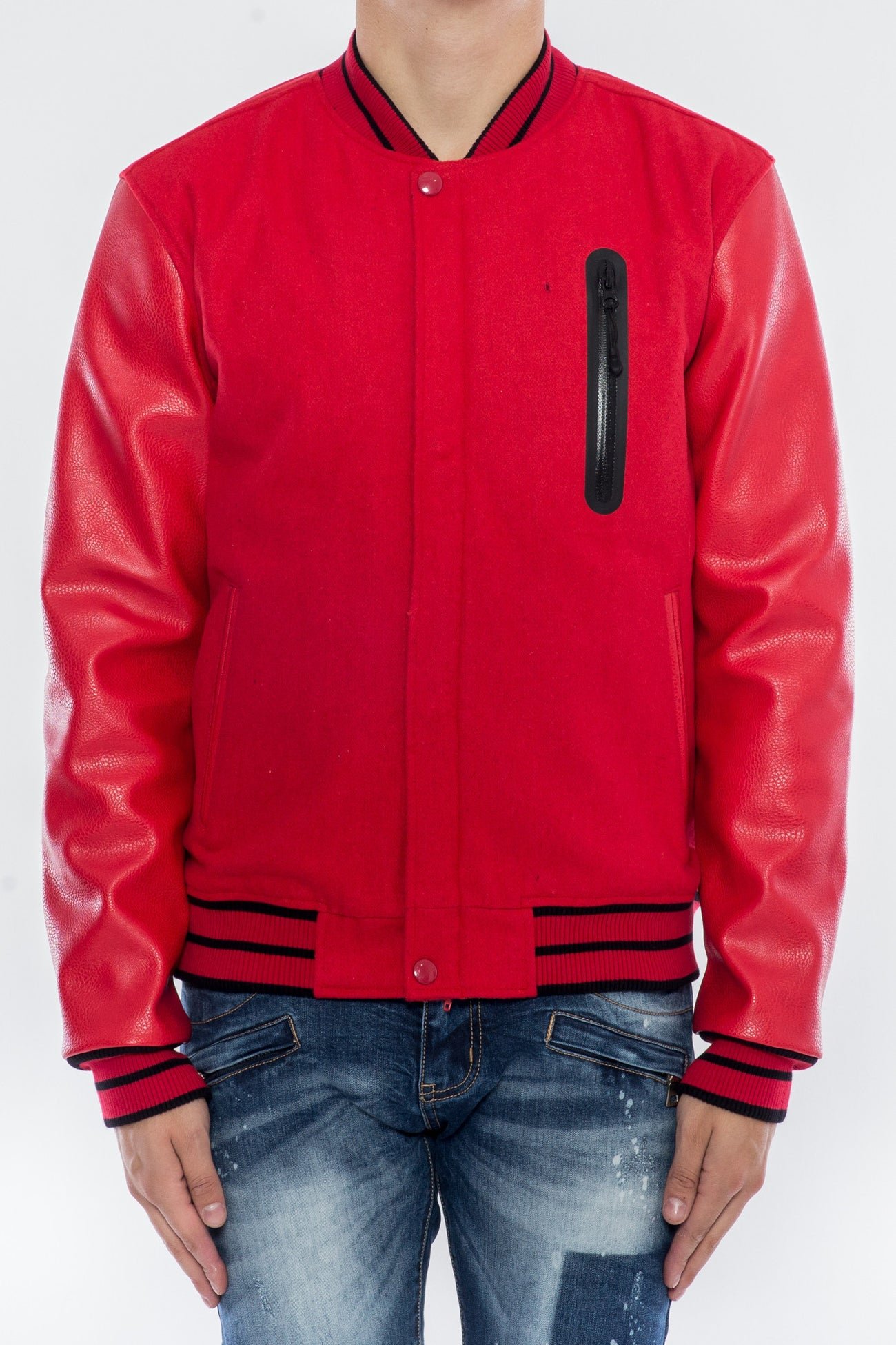 SEARCH AND DESTROY BOMBER VARSITY JACKET H6051112-RED - cosign1975
