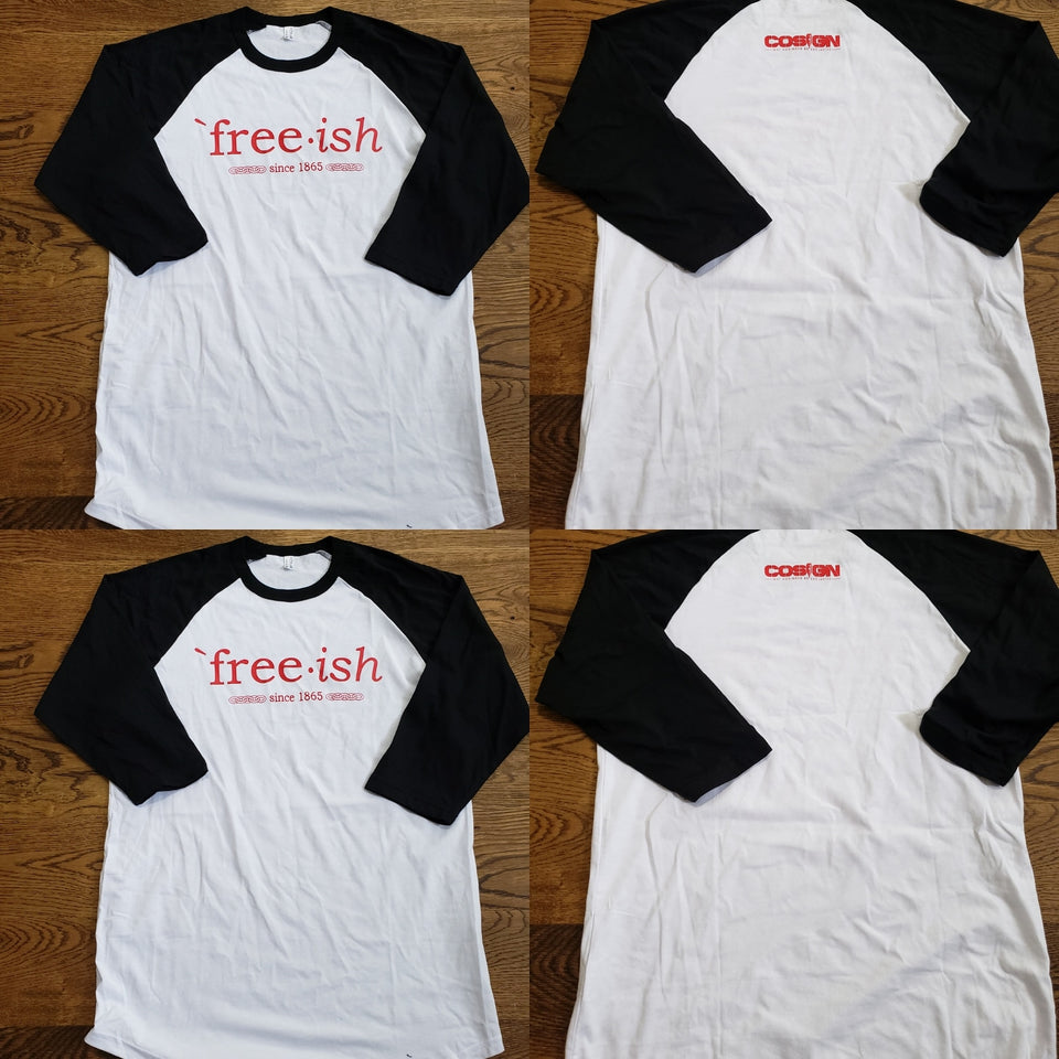 FREE-ISH COSIGN EDITION BASEBALL TEE WHITE/BLK/RED