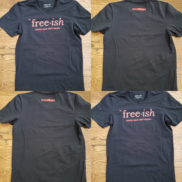 FREE-ISH COSIGN EDITION STRETCH FITTED V-NECK BLK/RED