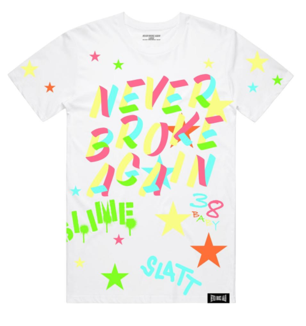 NEVER BROKE AGAIN - SLATT TSHIRT (SLATTTEEWHT) - WHITE