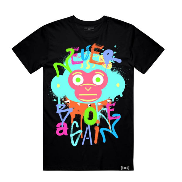 NEVER BROKE AGAIN - SPRAY MONKEY TSHIRT (SPRAYMONKEYTEEBLK)