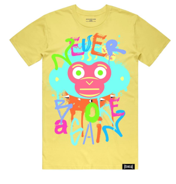 NEVER BROKE AGAIN - SPRAY MONKEY TSHIRT (SPRAYMONKEYYLLW)