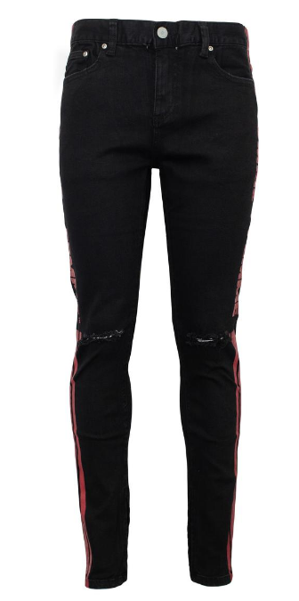 Homme + Femme - Striped Logo Denim Black With Red Stripe (PREBDNM15) - cosign1975