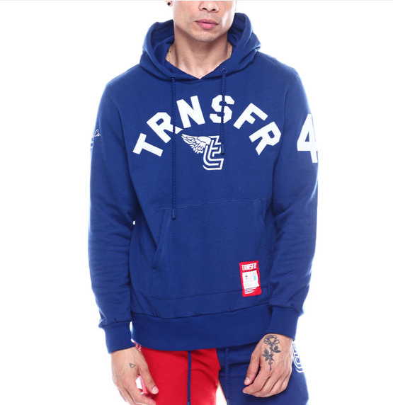 TRANSFER SPORTIF LITE WEIGHT FRENCH TERRY PULL OVER BLUE HOODY (TS19-1001) - cosign1975