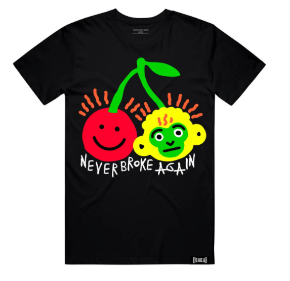 NEVER BROKE AGAIN - CHERRY STEM TSHIRT (CHERRYSTEMTEEBLK)