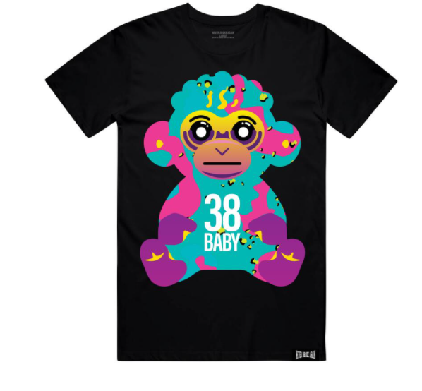 NEVER BROKE AGAIN - 38 BABY COLORFUL TSHIRT (38BABYCOLORFULCAMOTEEBLK)