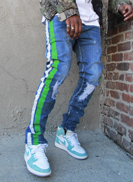 FEIN - HENDRIX JEANS (FD006) - GREEN/WHITE STRIPE - cosign1975