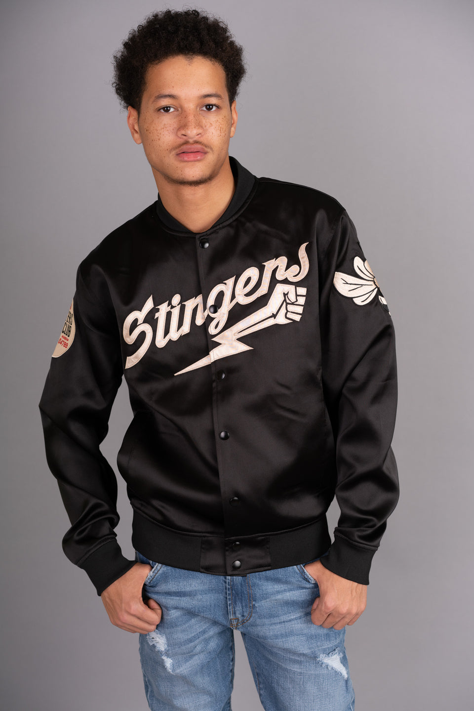 REDTAG - STATIN LEIGHTWEIGHT STINGERS CRUISERS CLUB JACKET - BLACK