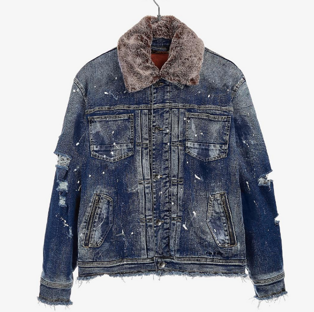IRO - OCHI - WASHI DENIM JACKET (37287-EIWH) -REMOVABLE FUR
