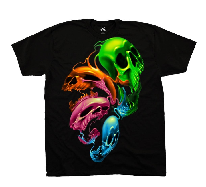 PREMIUM T-SHIRT LOUNGE -LIQUID NEON SKULLS (31716) - BLACK
