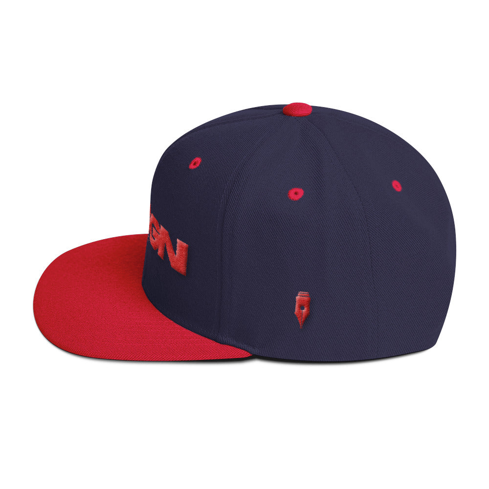 Red and Navy Blue Wool Blend Snapback - cosign1975