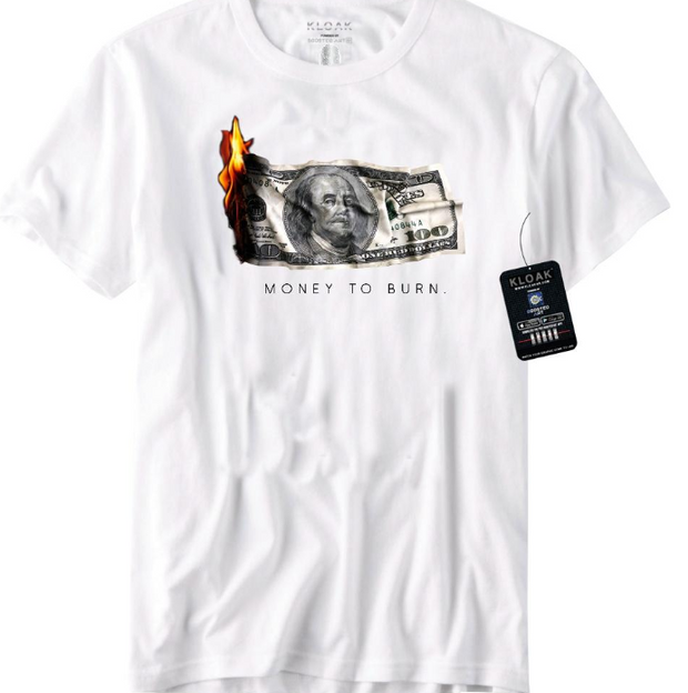 KLOAK - MONEY TO BURN TEE - WHITE - (LO-KT-004)