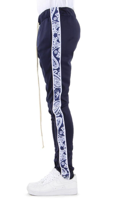 Navy Bandana GRAPHIC TRACK PANTS (EP8029) - cosign1975