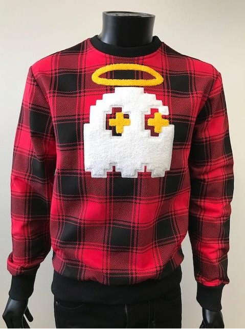 """HALO"" PLAID CREW SWEATSHIRT W/CHENILLE PATCH RED (BKC911) - cosign1975"
