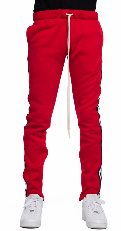 EPTM RED FLEECE TAPED TRACK PANTS (EP8763) - cosign1975