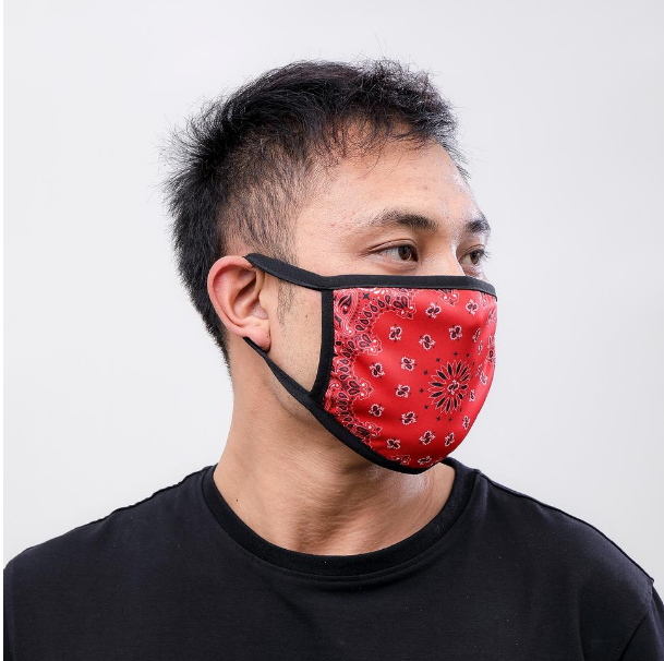 HUDSON - HUDSON - Solid Paisley Face Mask (E7133261) -RED