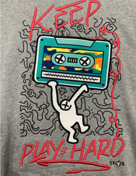 "BKYS - ""KEEP PLAYING HARD"" SWEATSHIRT (C247) - GREY"