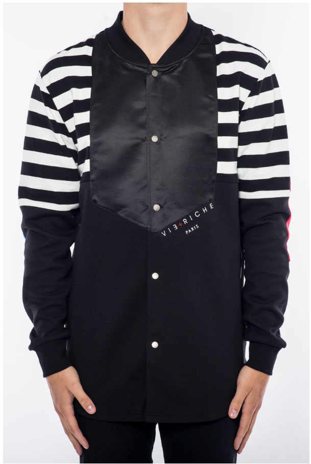 RIB COLLAR WOVEN SHIRT JACKET V2070801-BLK - cosign1975