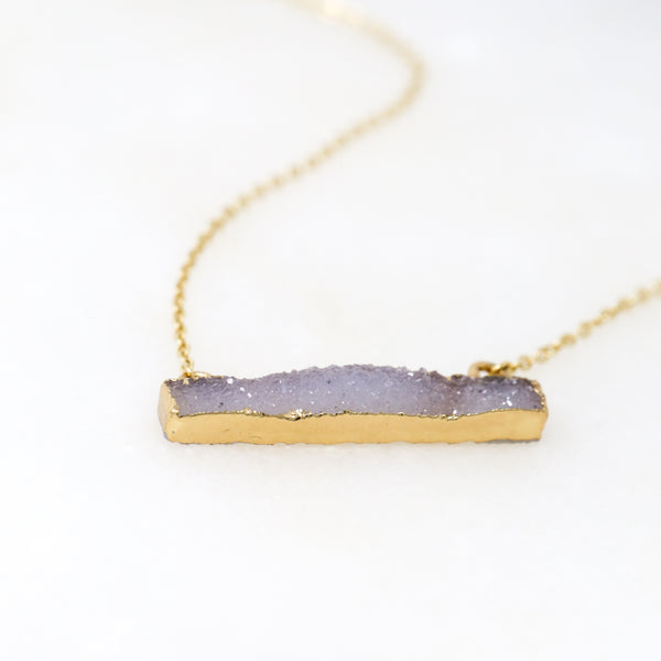 Long Druzy Bar Necklace